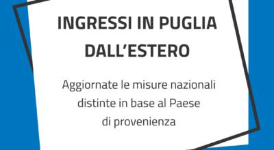 Misure per l'ingresso in Puglia dall'estero