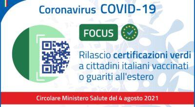 Green Pass per cittadini italiani vaccinati o guariti all'estero